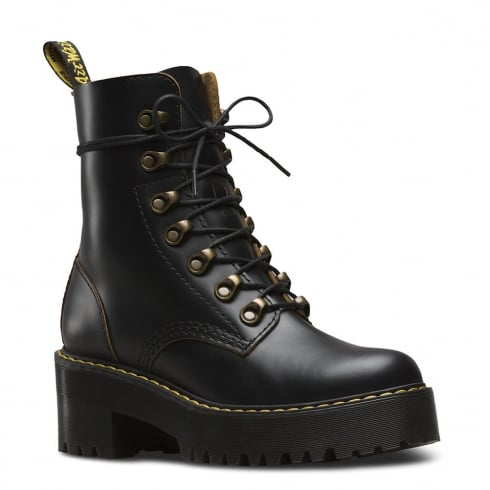 Dr. Martens Dr.Martens Womens Black Leona Vintage Chunky Heel Laced Boots