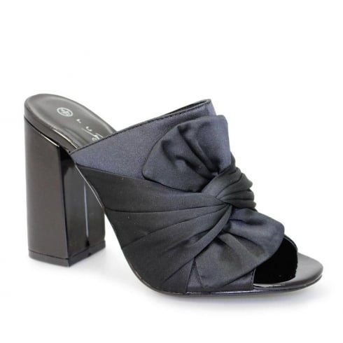 Lunar Harlow Black Slip On Mule Heeled Sandals