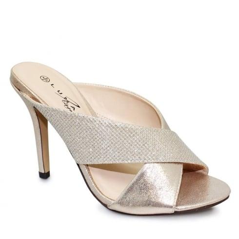 Lunar Hallie Gold Cross Over Heeled Sandals