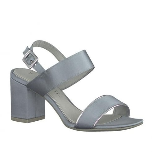 Marco Tozzi Blue Satin Slingback Block Heeled Sandals