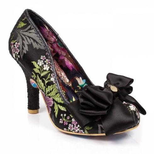 Irregular Choice Ascot Black Silky Floral Bow Trim Court Heels