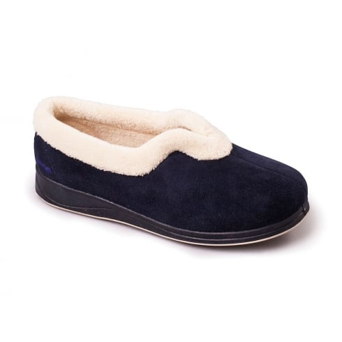 Padders Carmen Wide Fit Slippers - Navy