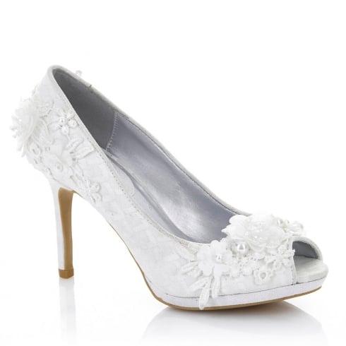 Ruby Shoo Bianca Pearl Peep Toe High Heel Wedding Shoes