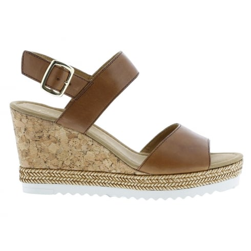 Gabor Wicket Tan Ladies Wedge Heel Sandals