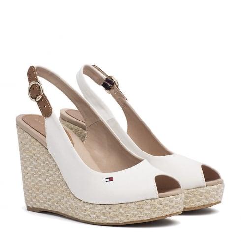 Tommy Hilfiger Elena Slingback White Espadrille Wedge Sandals