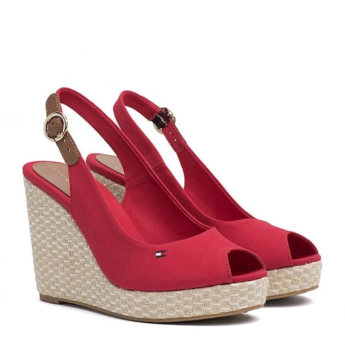 Tommy Hilfiger Elena Slingback Red Espadrille Wedge Sandals