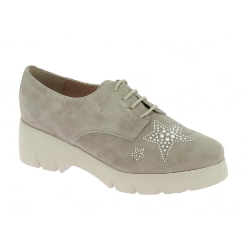 Wonders Grey Star Embellished Lace Up Shoe