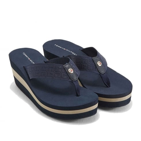 Tommy Hilfiger Elevated Essential Stripe Beach Sandal - Navy