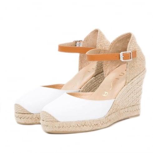 Unisa CASTILLA Ankle Buckle White Wedge Espadrille Sandals
