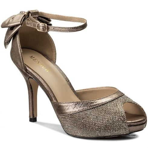 Menbur Delta Gold Glitter Bow Peep-Toe Heeled Sandal