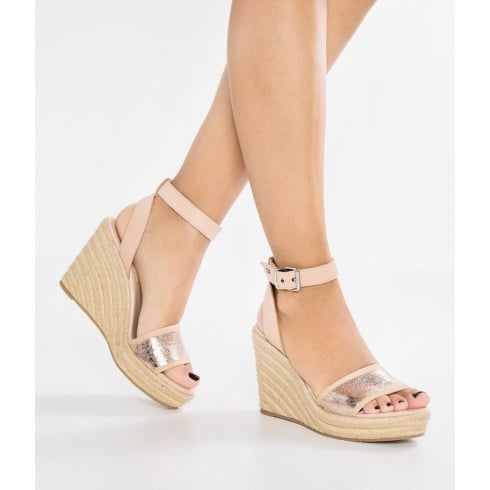 Tommy Hilfiger Rose Gold Ankle Strap Wedge Heeled Sandals