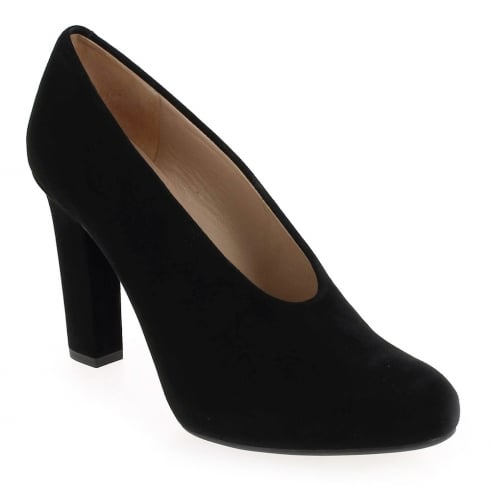 Unisa Porfa Black Block Heel Court Shoes