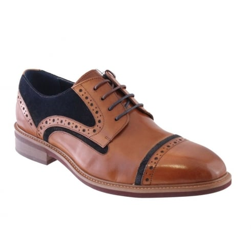 Morgan & Co Men's Two Tone Tan/Navy Toe Cap Laced Shoes