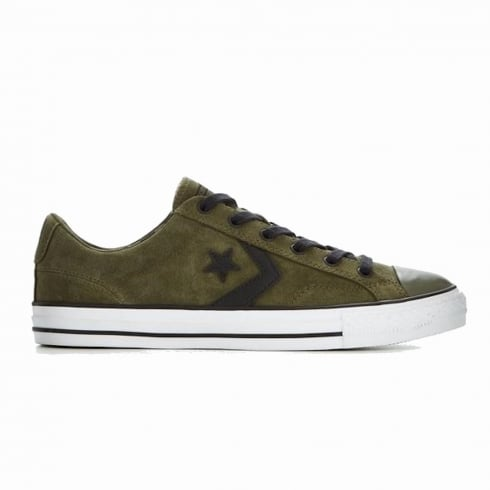Converse Mens One Star Pinstripe Green Herbal Suede Trainers