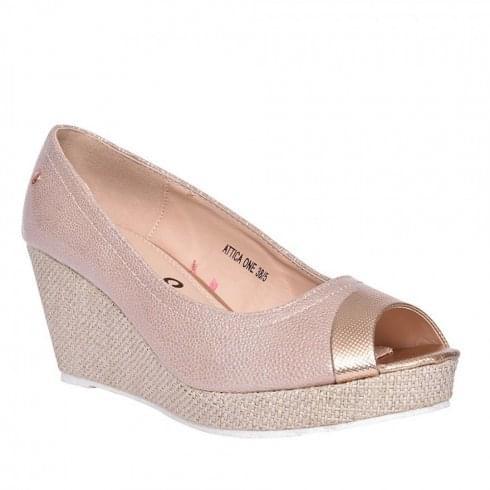 Zanni & Co Ladies Attica Pink Peep Toe Wedge Shoes
