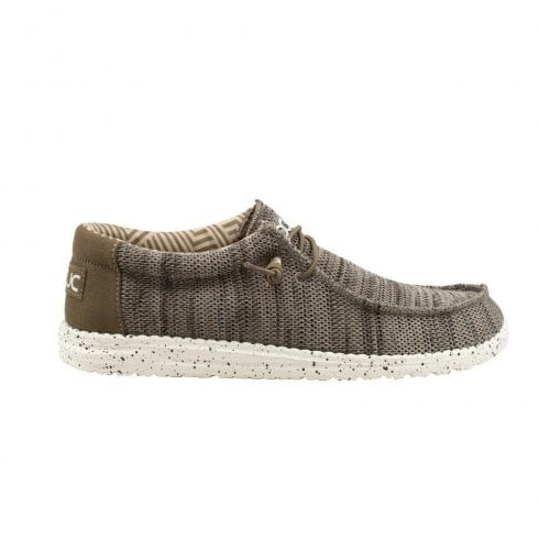 Hey Dude Men's Wally Sox Brown Beige Knit Shoes