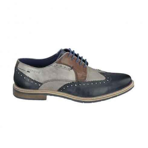 Bugatti Mens Blue/Grey Lace Up Brogue Shoes 312-25904