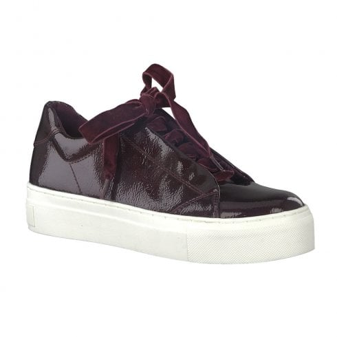 Marco Tozzi Womens Velvet Ribbon Lace Up Shoe - Burgundy