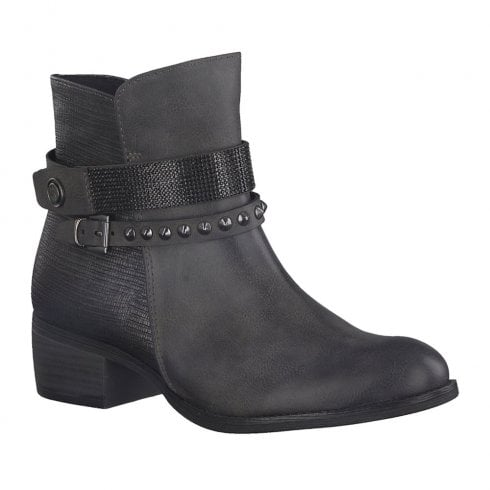 Marco Tozzi Womens Low Heel Cowboy Style Ankle Boots - Grey
