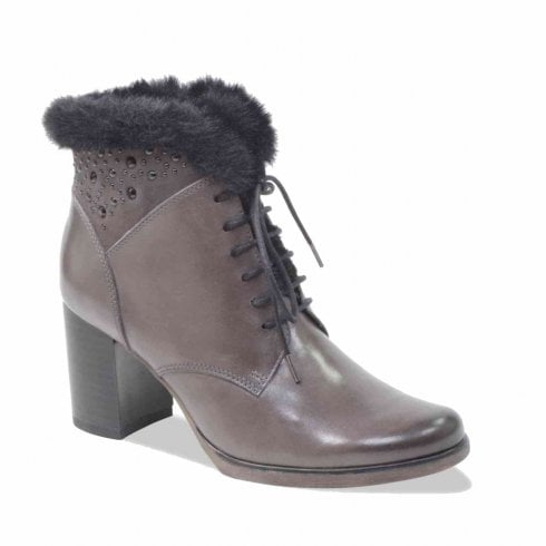 Caprice Grey Leather Heeled Lace Up Ankle Boots