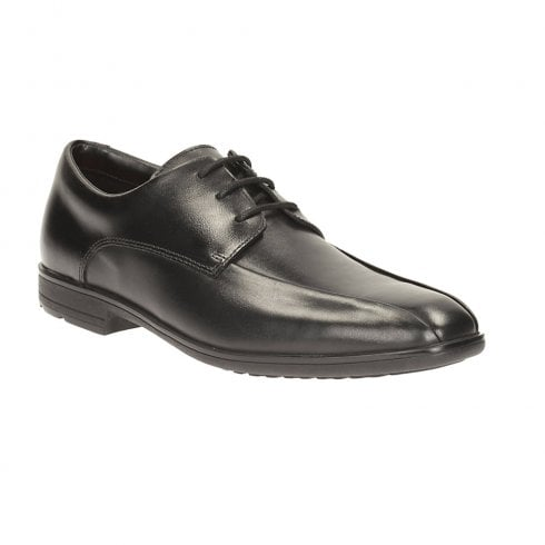 Clarks Willis Lad BL Black Leather Boys School Shoes (E) - 26118939