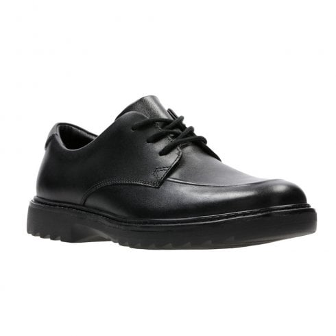 Clarks Asher Grove Black Leather Boys School Shoes (F) - 26134894