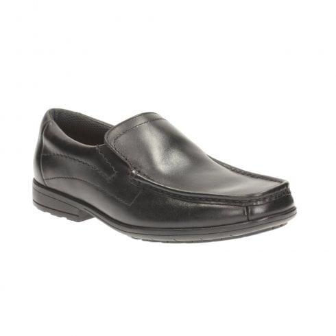 Clarks Greinton Go BL Black Leather Boys School Shoes (G)- 26121293