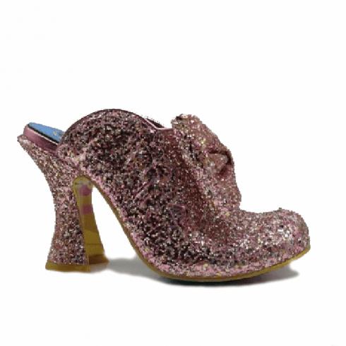 Irregular Choice Glitter Queen Heeled Fashion Mule Sandals - Pink