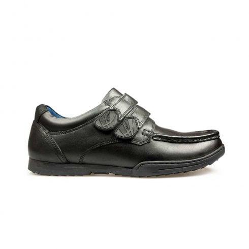 POD Boys Paladin Double Velcro Back to School Moccasin - Black
