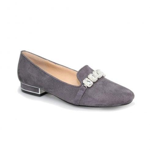 Lunar Kalista Jewelled Loafer Shoes - Grey
