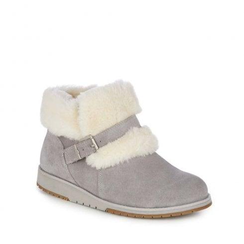 Emu Australia EMU Oxley Fur Cuff Suede Ankle Boots - Dove Grey