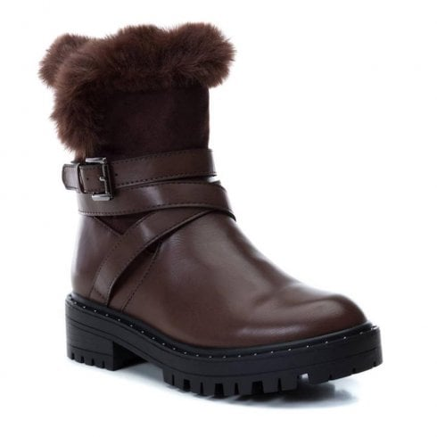 XTI Womens Over Ankle Fur Trim Boots - Brown
