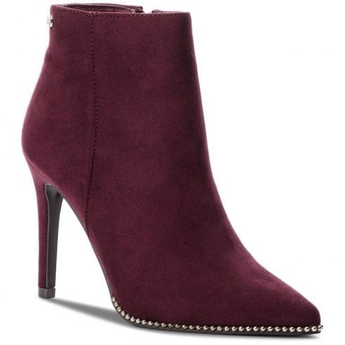 XTI Womens Suede Decorative Edges Stiletto Ankle Boots - Burgundy
