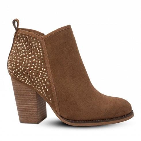 Escape Shoes Escape Berat Block Heel Studded Ankle Boots - Tan
