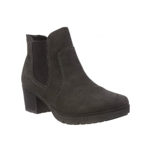 Soft Line Womens Grey Asphalt Suede Block Heeled Ankle Boots
