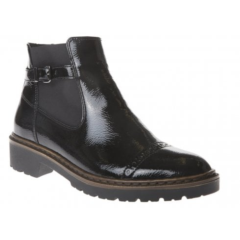 Ara Ladies Black Flat Ankle Boots