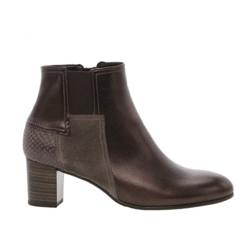 Gabor Heeled Patchwork Ankle Boots - Bronze Metallic