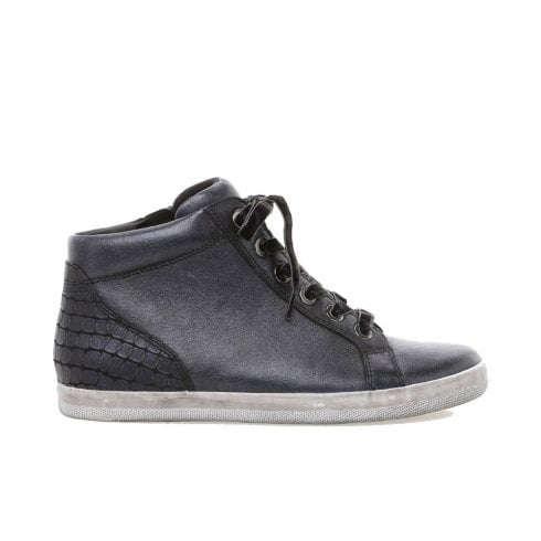 Gabor Ladies Mix Leather Hi Top Sneakers - Blue Grey