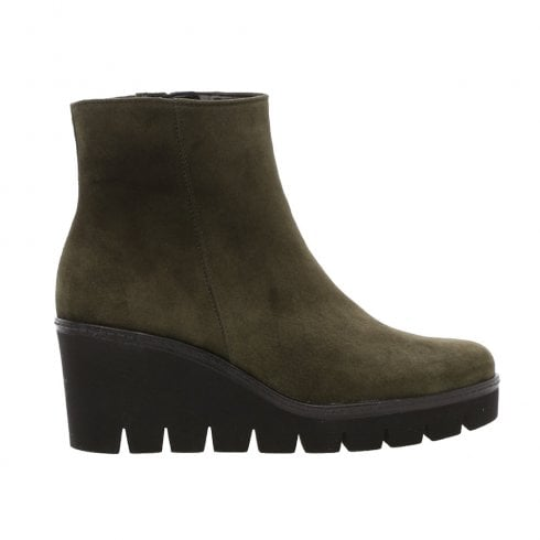 Gabor Wedge Heeled Suede Ankle Boots - Khaki