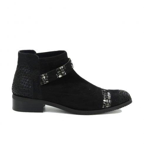 Fugitive Rebus Velvet Low Ankle Leather Boots - Black