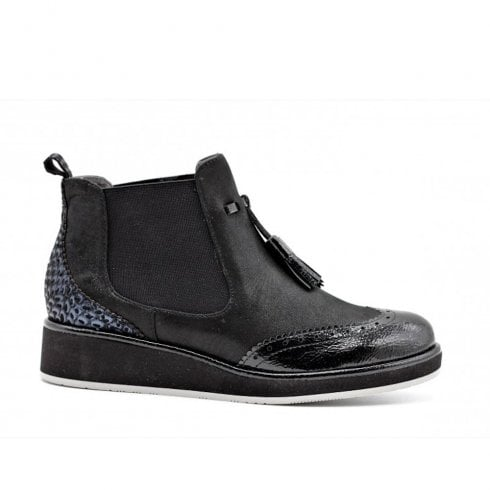 Fugitive Kimba Low Wedge Ankle Boots - Black