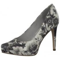 Tamaris Womens Floral Patent Platform Court Heels - 22446 - Black/White