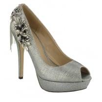 Menbur Silver Platform Peep Toe Heels - 070750R09