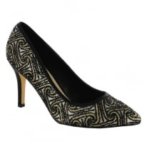 Menbur Black/Gold Pointed Court Heels - 070500R10