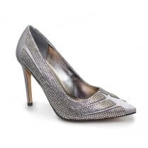 Lunar Sasha Diamante Heel - Grey Court Shoes FLR372