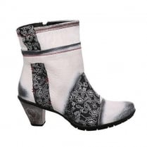 Maciejka Augusta Womens Leather Ankle Boots - White/Grey-02617