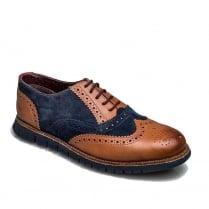 London Brogues Gatz Casual Oxford Mens Brogue Shoes - Tan/Navy