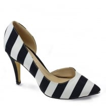 Lunar Coy Striped Court Shoe - Black/White - FLR422