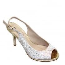 Lunar Womens Paige Diamante Peep Toe Slingback - Gold