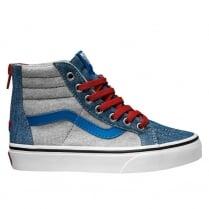 Vans Kids Jersey & Denim Sk8-Hi Zip Shoes - VA3276MMG
